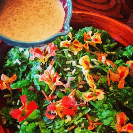 Yuzu Sesame Salad with Nasturtium Flowers l Okinawa Hai!