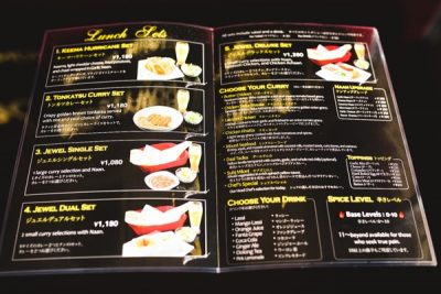 Indian Food Menu List at Bollywood Jewel, Chatan, Okinawa