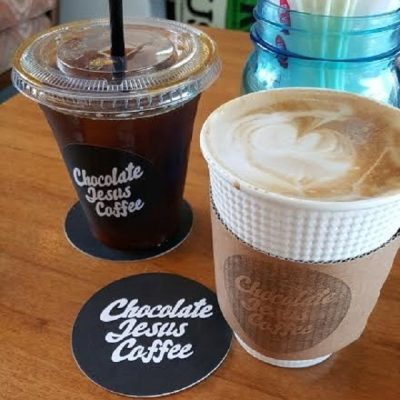 Beverages served at Chocolate Jesus Coffee, OKinawa